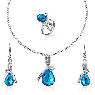 Oleva Austrian Diamond White Stone Pendant Set (Design 3)