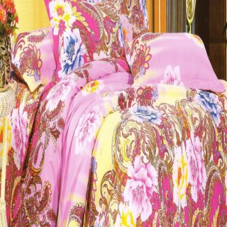 Valtellina Pink Paisley Gift Packing Double Bed Sheet with 2 Pillow covers