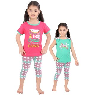 Punkster Pink Green Top Capri Set For Girls
