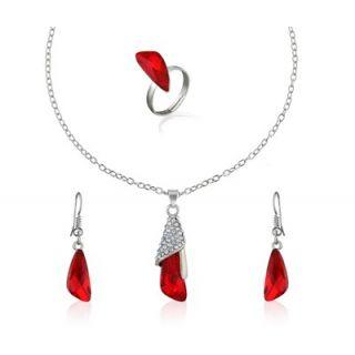 Oleva Austrian Diamond Red Stone Pendant Set (Design 1)