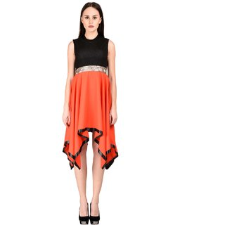 35%off Westchic womens Black with Orange Asymmetric Dress 4c89cf4f6a5ce