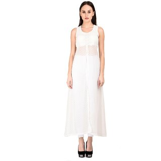 Westchic womens WHITE Front Slit CAPE DRESS