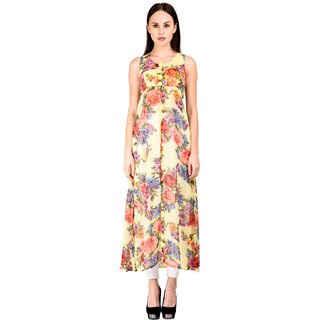 Westchic womens YELLOW with MULTICOLOUR Front Slit CAPE DRESS