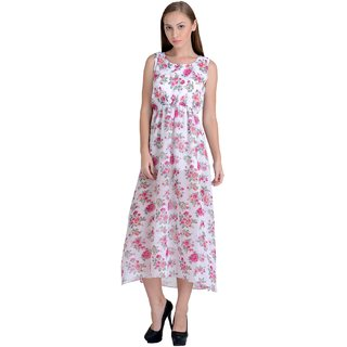 Westchic womens White with Pink Flower MAXI DRESS