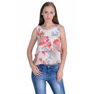 Raabta White with Red Floral Printed Crop Top