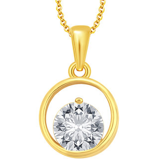 Sukkhi Sparkling Solitaire Gold Plated CZ Pendant For Women