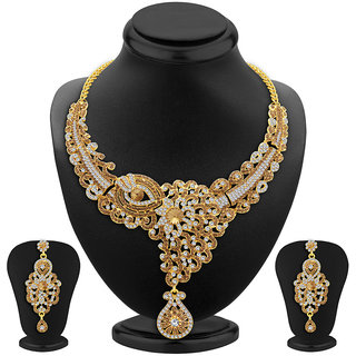 Sukkhi Glorious LCT Stone Gold Plated AD Necklace Set For Women