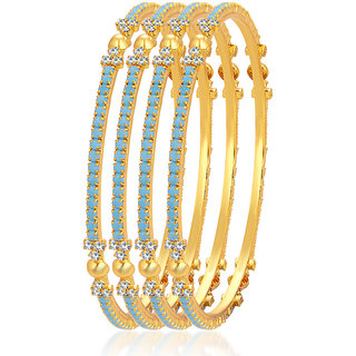 Sukkhi Wavy Firozi Colour Stone Gold Plated AD Bangle For Women