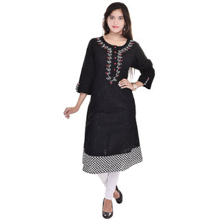 Beautiful Printed Straight Black Kurti From the House of Aprique Fab