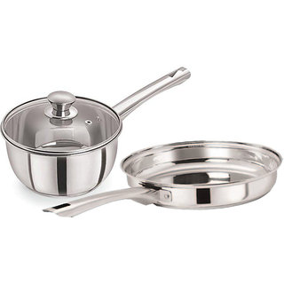 Pristine Tri Ply Induction Base Cooking Essential St. Steel Cookware Set 2PCS Silver