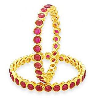 Sukkhi Delightful Kempu Stone Gold Plated Bangle For Women