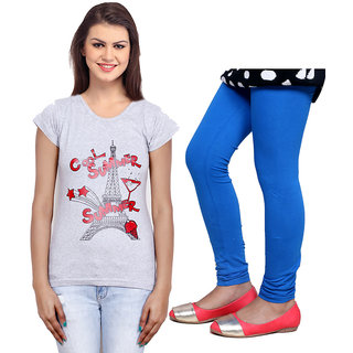 Indistar Cotton Girls T-Shirt  Girls Legging Set of - 2 3100471409-IW