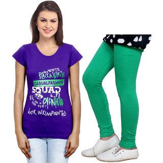 Indistar Cotton Girls T-Shirt  Girls Legging Set of - 2 3100871406-IW