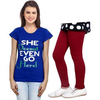 Indistar Cotton Girls T-Shirt  Girls Legging Set of - 2 3101171400-IW