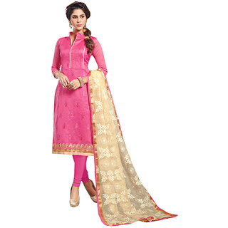 The Ethnic Chic Light Pink Colored Chanderi Cotton Suit
