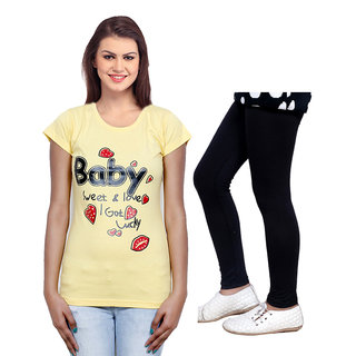 Indistar Cotton Girls T-Shirt  Girls Legging Set of - 2 3100071405-IW