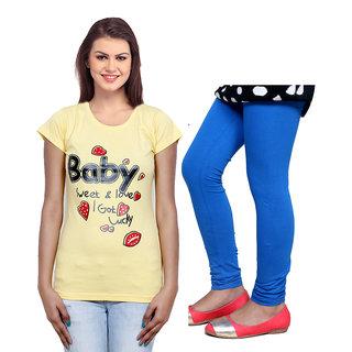 Indistar Cotton Girls T-Shirt  Girls Legging Set of - 2 3100071409-IW