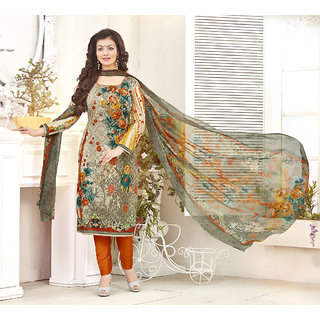 Trendz Apparels Multicolor Cambric Cotton Printed Unstitched Straight Fit Salwar Suit