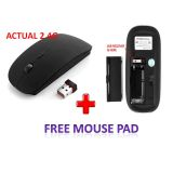 2.4g Apple Design Wireless Optical Mouse With Usb Mini Reciever  Free Mouse Pad