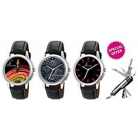 Combo Of Jack Klein Stylish Round Dial Leather Strap Analog Wrist Watches GRP1202,1204,1217 And Swiss Knife