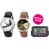 Combo Of Jack Klein Stylish Round Dial Leather Strap Analog Wrist Watches GRP 1240, 1216 And Car Watch