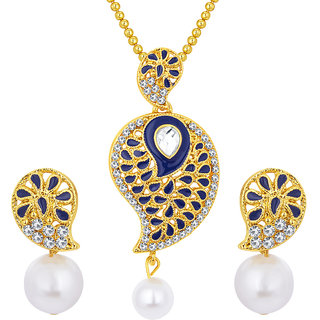 Sukkhi Glorious Gold Plated AD Pendant Set For Women