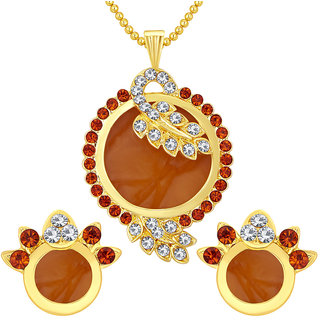 Sukkhi Beguiling Gold Plated AD Pendant Set For Women