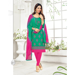 Trendz Apparels Green Cotton Jauquard Embroidery Unstitched Straight Fit Salwar Suit