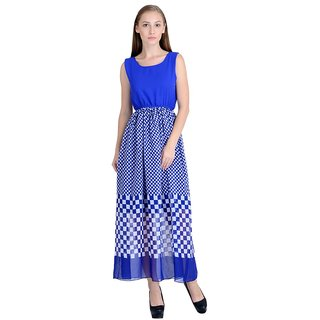 Raabta Fashion Blue Geometric Long Dress