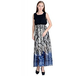 Raabta Black Yoge with Life of Tree Printed Maonika Long Maxi Dress