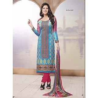 Trendz Apparels Multi Color Cambric Cotton Digital Printed UnstitchedStraight Fit Salwar Suit