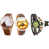 Combo Of Jack Klein Stylish Round Dial Leather Strap Analog Wrist Watches MXR BRW, GRP 1203, VNT BRW
