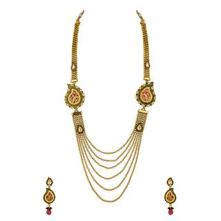 Gold Plated Paisley Necklace Set With Peacock Design Thewa Work