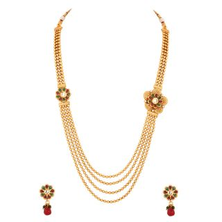 Multilayered Gold Plated Necklace Set With Pretty Floral Motifs
