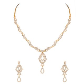 Gold Plated Necklace Set With Pretty Eyes Design