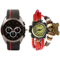 Combo Of Jack Klein Stylish Round Dial Analog Wrist Watches V9S-RD And VNT-RD