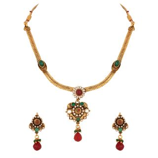 Gold Plated Cz Kundan Studded Necklace Set (With Pretty Floral Pendant)