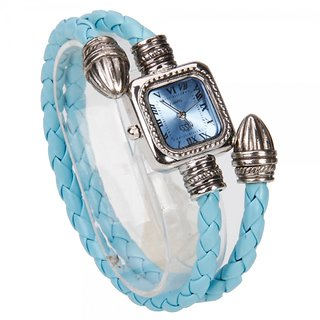 Women - PU Leather Band Quartz Bracelet Wrist Watch Blue