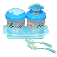 Multipurpose Jar With Tray (Set Of 2pc.) Free 2 Spoon