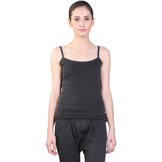 Vimal Black Wool Blend Plain Thermal Top For Women