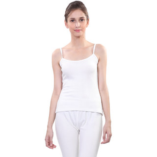 Vimal White Wool Blend Striped Thermal Top For Women
