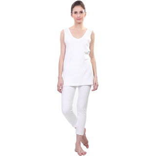 Vimal White Wool Blend Striped Thermal Set For Women