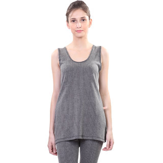 Vimal Black Wool Blend Striped Thermal Top For Women