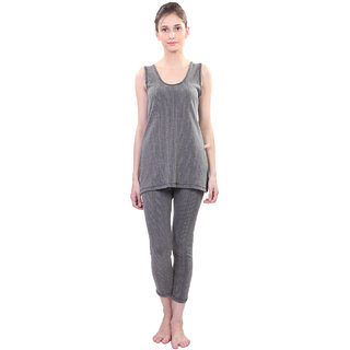 Vimal Black Wool Blend Striped Thermal Set For Women