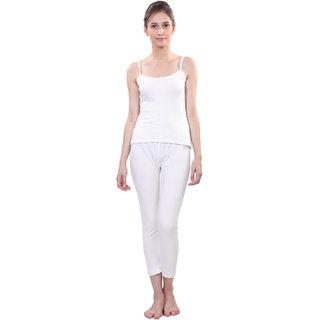 Vimal White Wool Blend Striped Thermal Set For Women