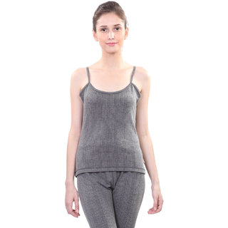 Vimal Black Wool Blend Striped Thermal Top For Women