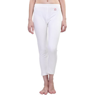 Vimal White Wool Blend Striped Thermal Lower For Women