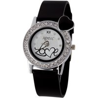 Addic Love Crystal Studded White Dial With Black Strap And Black Heart Womens Watch