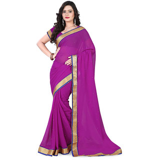 The Ethnic Chic Dark Pink Colored 60 Gm Chiffon Saree
