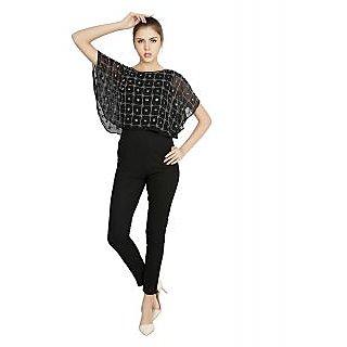 W.A.Y Lounge Wear Black Embellished Jump Suit For Women